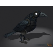 Silver Clockwork Raven Decoration Pet