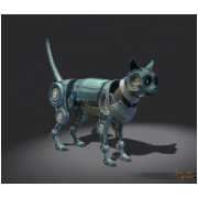 Silver Clockwork Cat Decoration Pet